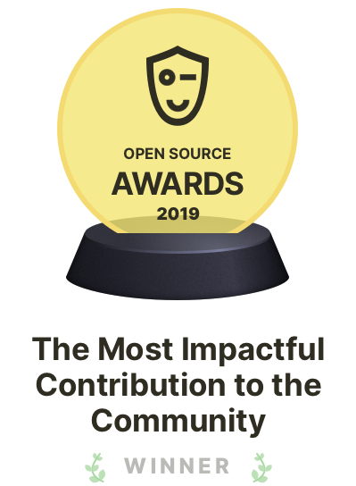 "Winner of the Open Source Awards 2019 in the category ""The most impactful contribution to the community"""